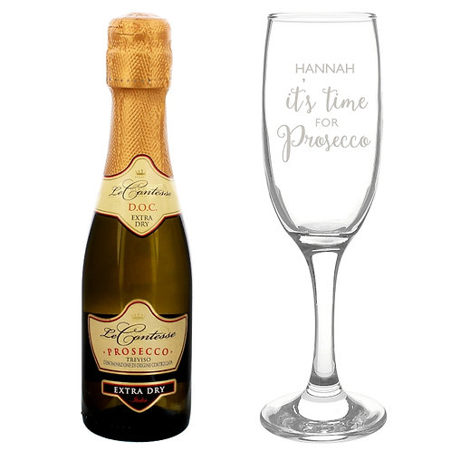 Our 'It's Time for Prosecco' flute & mini prosecco is a perfect way to celebrate with a little treat!
