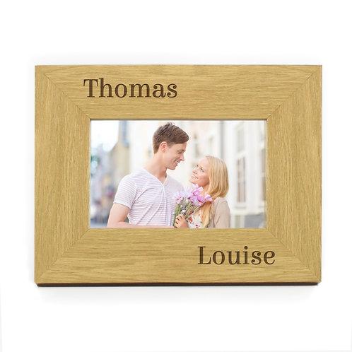 Personalised Oak Finish 6x4 Couples Photo Frame