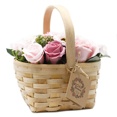 Pink Bouquet in Wicker Basket