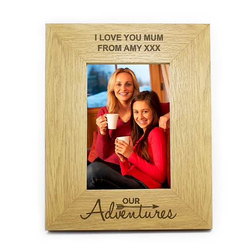 Personalised Our Adventures 6x4 Wooden Photo Frame - watchboxleamington.com