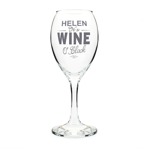 Personalise this wine glass, that features a stylish typography design, with a name up to 12 characters