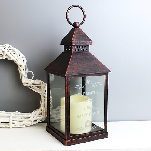 Our Personalised Hearts and Home Rustic Black Lantern is an ideal way of adding a touch of class to any home