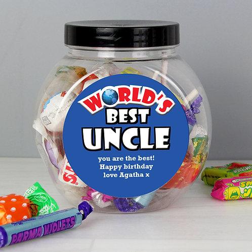 Personalised Blue Worlds Best Sweet Jar
