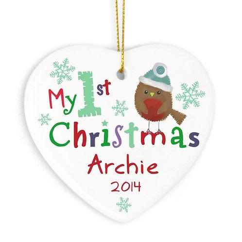 Personalised My 1st Christmas Ceramic Heart