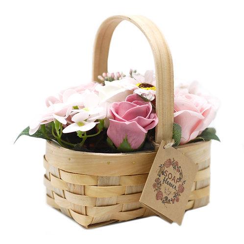 Small Pink Bouquet in Wicker Basket