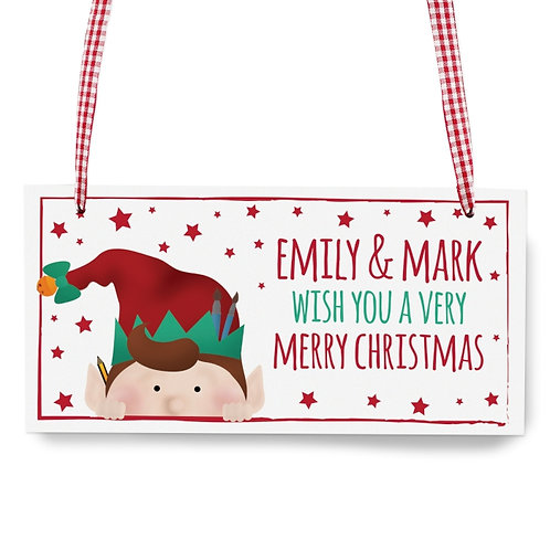 Personalised Christmas Elf Wooden Sign - new for christmas 2017 at watchbox leamington