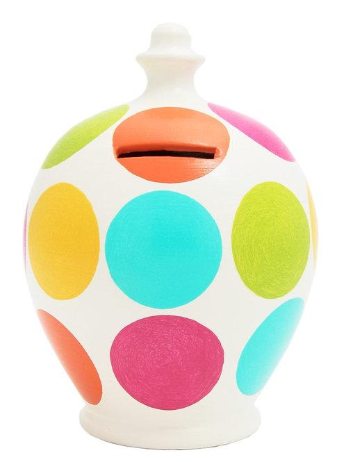 Terramundi  Money Pot- Aqua Lime Pink Orange & Yellow Spots C10