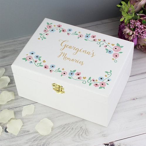 Our stunning Personalised Fairytale Floral White Wooden Keepsake Box is perfect for storing all of life's little treasures.