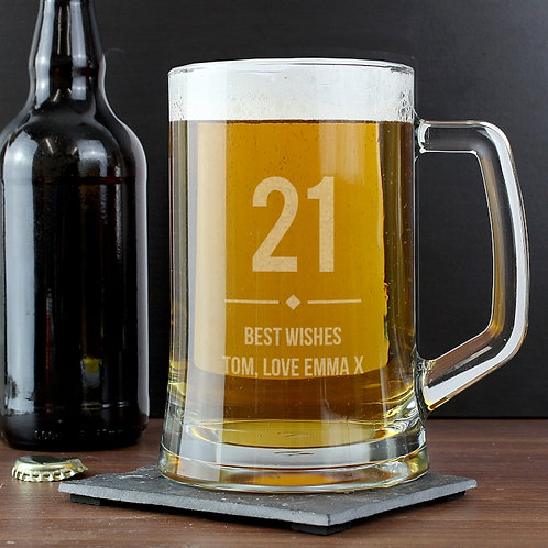 Celebrate a special occasion in style with this Personalised Big Age Glass Pint Stern Tankard