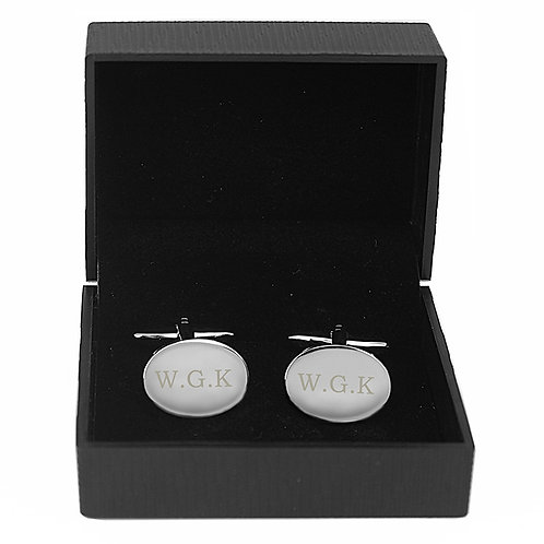 Personalised Oval Cufflinks -These oval cufflinks can be engraved with up to 3 initials