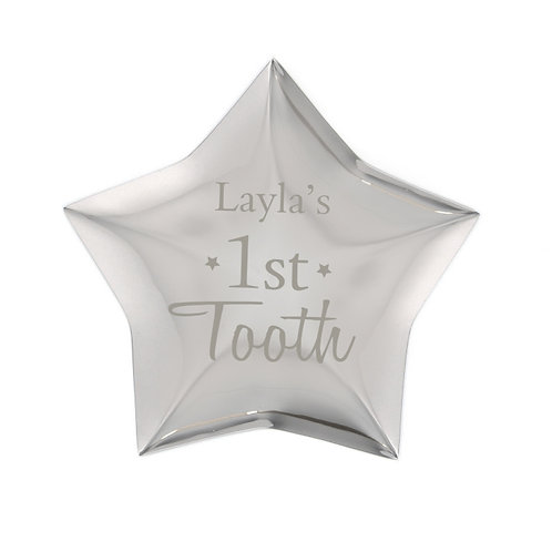 Our Personalised 1st Tooth Star Trinket is an ideal place to store their precious first baby tooth!