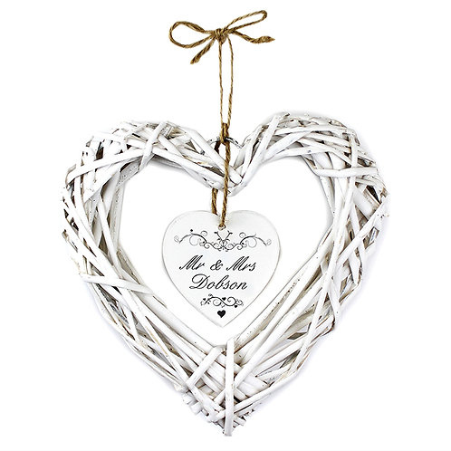 Personalised Ornate Swirl Wicker Heart Decoration  Personalise this Ornate Swirl Wicker Heart with 2 Lines of 15 characters