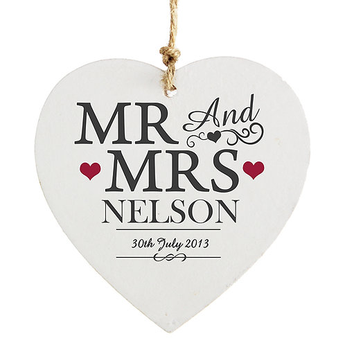 Personalise this Mr & Mrs Wooden Heart Decoration with a couples surname up to 15 characters and date up to 20 characters