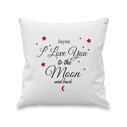 Personalised To The Moon & Back Cushion Cover- Add the personalise touch to your valentine or mothers day gift this year