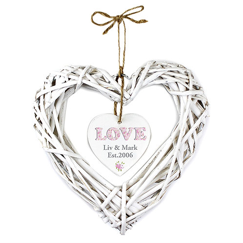 Personalise this Floral Love Wicker Heart with 2 Lines of 15 characters.
