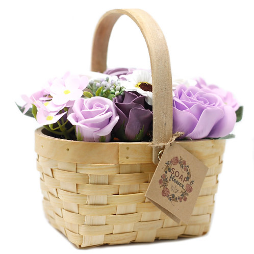 Liliac Bouquet in Wicker Basket