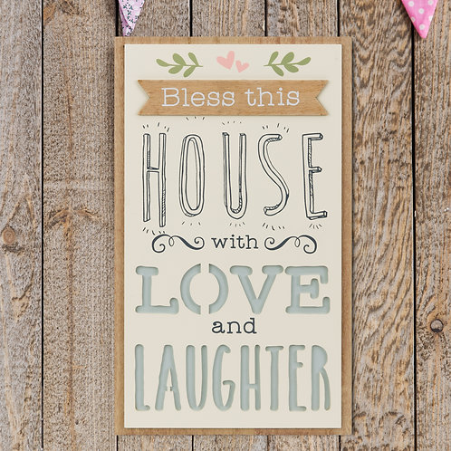 House, Love & Laughter wall plaque