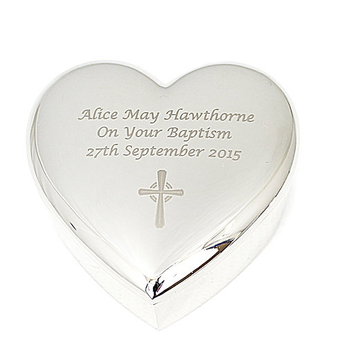 Personalise this Cross Motif Heart Trinket box with any message of up to 3 lines of 20 characters