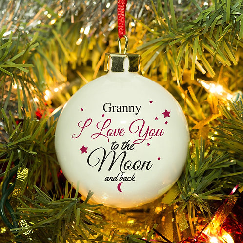 Personalised To The Moon & Back Bauble