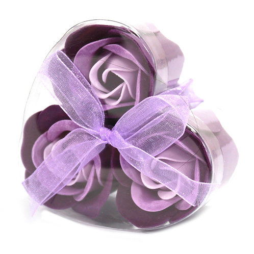 Set of 3 Soap Flower Heart Box - Lavender Roses
