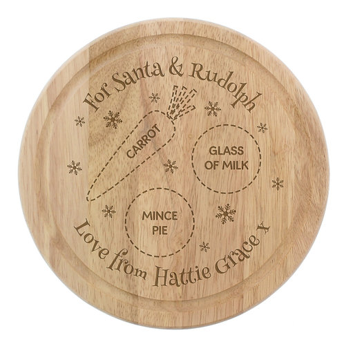 Personalised Christmas Eve Round Treats Board - www.watchboxleamington.com