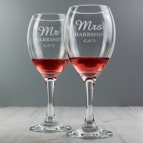 Personalised Mr & Mrs Wine Glass Set  Sharing a glass of wine with your other half is an ideal way to relax after a stressful