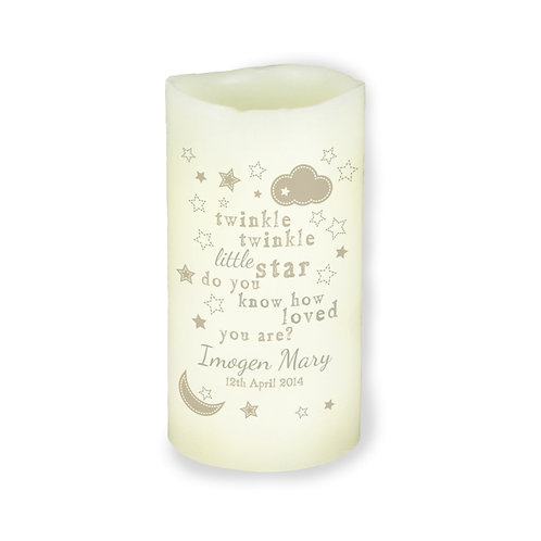 Personalise this Twinkle Twinkle Little Star LED candle with a name up to 20 characters and a date up to 20 characters
