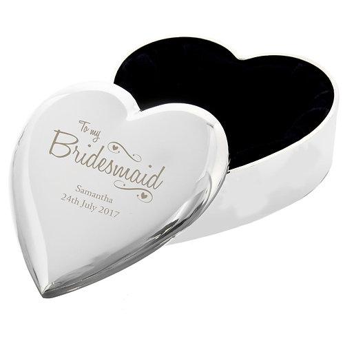 Personalised Bridesmaid Swirls & Hearts Trinket Box