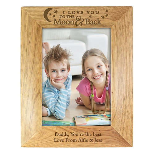 Personalised To the Moon and Back... 5x7 Wooden Photo Frame- The perfect way to show someone how much you love them