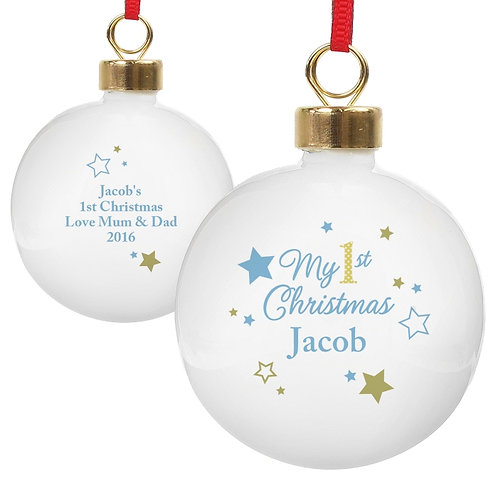 Personalised Gold & Blue Stars My 1st Christmas Bauble - watchboxleamington.com