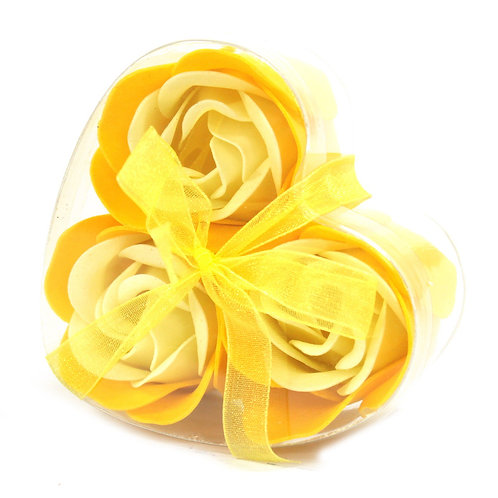 Set of 3 Soap Flower Heart Box - Spring Roses