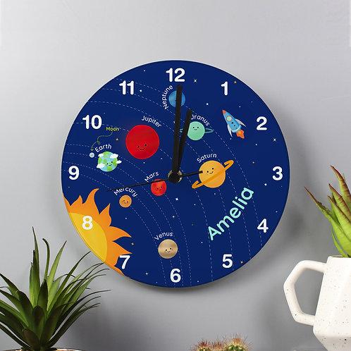 Personalised Solar Sytem Glass Clock