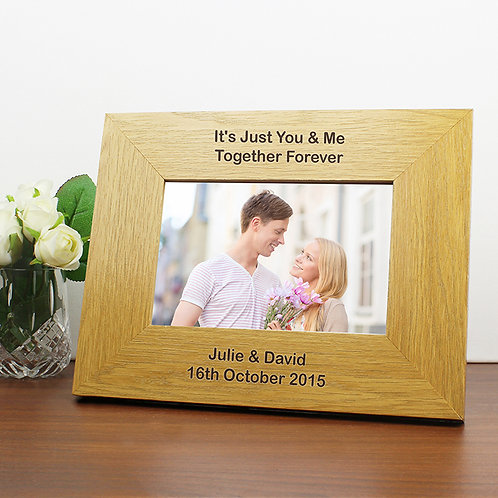 Personalised Oak Finish 6x4 Landscape Photo Frame - Long Message​​​​​​​