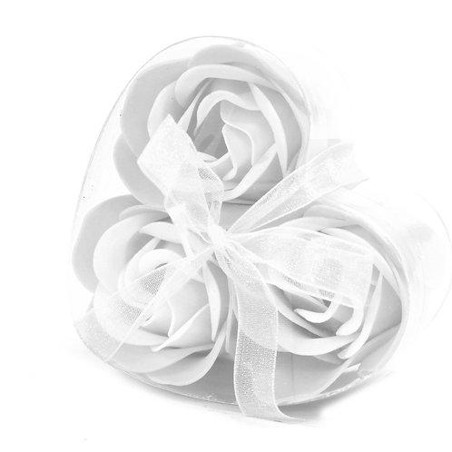 Set of 3 Soap Flower Heart Box - White