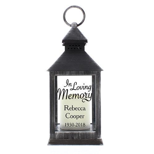 Personalised In Loving Memory Rustic Black Lantern