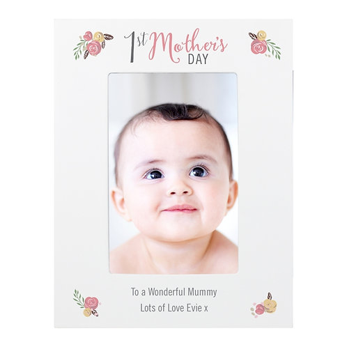 The frame can be personalised with 2 lines of text, with up to 30 characters per line. The words '1st Mother's DAY' are fixed