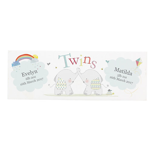 Personalised Hessian Elephant Twins Mantel Block  What an adorable gift for someone who's just welcomed a set of twins