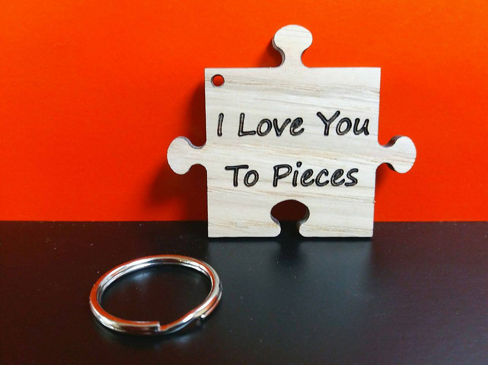 Personalised I Love You To Pieces Keyring