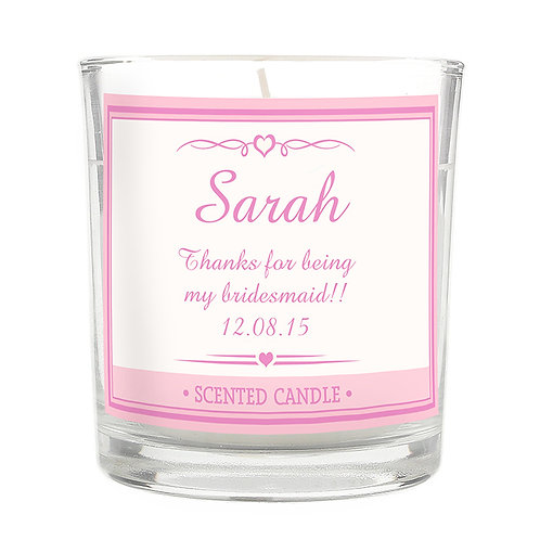 Personalised Pink Elegant Scented Jar Candle