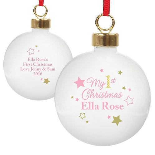 Personalised Gold & Pink Stars My 1st Christmas Bauble - watchboxleamington.com