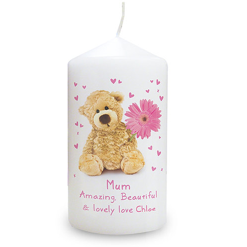 Personalise this Teddy Flower candle with a name up to 12 characters and a message of up to 2 lines of up to 20 characters.