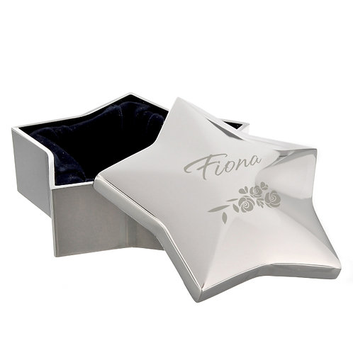 Personalised Vintage Rose Star Trinket Box an ideal way of showing a special recipient how much they're loved