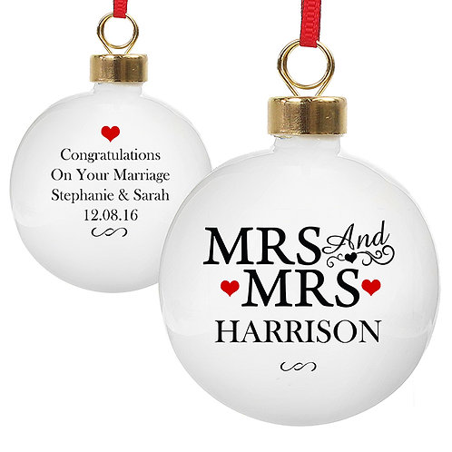 Personalise this Mrs & Mrs Bauble with a surname, date and a short message, the perfect christmas gift