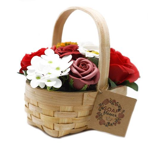 Small Red Bouquet in Wicker Basket