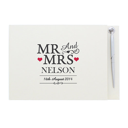 personalise this Mr & Mrs Guest Book and Pen with the couples surname & wedding date