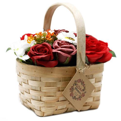 Red Bouquet in Wicker Basket
