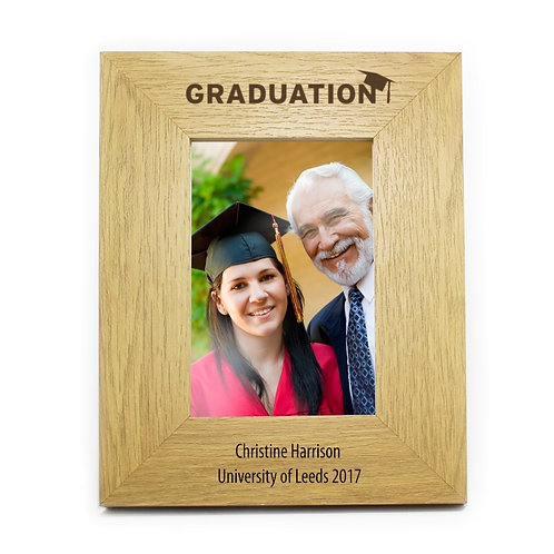 Personalised Oak Finish 6x4 Graduation Photo Frame - watchboxleamington.com