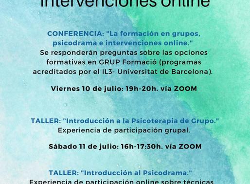 La formación en grupos, psicodrama e intervenciones online
