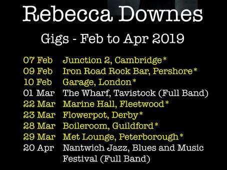 Full List of Gigs For Feb/Mar/Apr