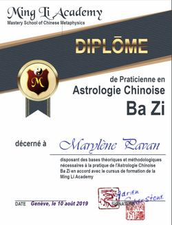 Diplôme Astrologie Chinoise Bazi Mingli